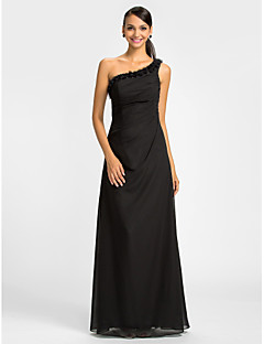 Dress Sheath / Column One Shoulder Floor-length Chiffon with Crystal Detailing / Flower(s) / Side Draping