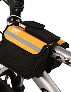Sykling Bicycle Trame Pannier Front Tube Bag Gul med regntrekk