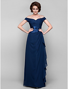 Lanting Sheath/Column Plus Sizes / Petite Mother of the Bride Dress - Dark Navy Floor-length Sleeveless Chiffon