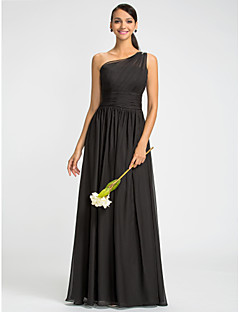 Bridesmaid Dress Floor Length Chiffon Sheath Column One Shoulder Dress With Beading (612441)