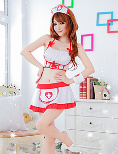 Nifty sjuksköterska Vitt och Red Polyester Maid Lingerie