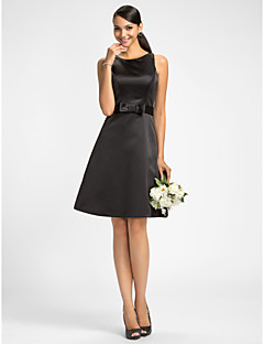 Homecoming Bridesmaid Dress Knee Length Satin A Line Jewel Dress