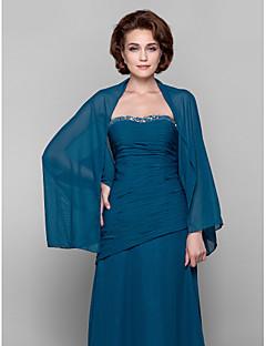 여성 숄 코트 / 재킷 긴 소매 쉬폰 잉크 블루 웨딩 / 파티/이브닝 / 캐쥬얼 스쿱 39cm 드레이프 오픈 프론트