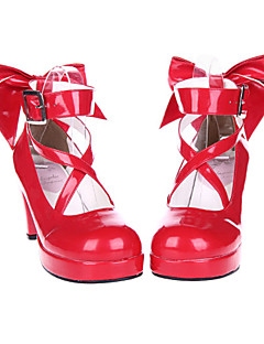 Red High Gloss Patent Leather 7cm High Heel Sweet Lolita Shoes