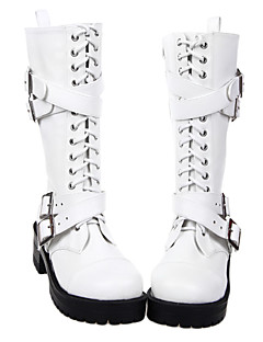 Håndlavet Lace Up White PU Leather 8cm High Heel Punk Lolita Boots