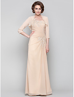 Dress - Wrap Included Plus Size / Petite Sheath / Column One Shoulder Floor-length Chiffon with Appliques / Beading / Criss Cross