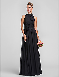 Floor-length Chiffon Bridesmaid Dress - Black Plus Sizes Sheath/Column High Neck