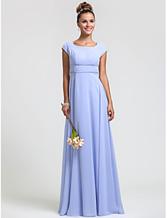 Floor-length Chiffon Bridesmaid Dress - Ruby / Grape / Royal Blue / Champagne / Lavender Plus Sizes / Petite Sheath/Column Square