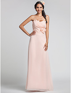 Sheath / Column Sweetheart Floor Length Chiffon Dress with Flower(s) Side Draping Ruching by