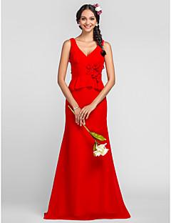 Vestido de Dama de Honor - Rojo Corte Recto Escote en V/Tirantes - Hasta el Suelo Gasa Tallas grandes