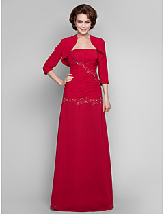 Dress Sheath / Column Strapless Floor-length Chiffon with Appliques / Beading / Side Draping