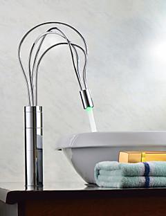 çağdaş krom kaplama tek kulplu liderliğindeki banyo lavabo musluk (uzun)