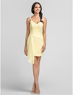 Платье - Жёлтый нарцисс Платье-чехол V-образный/Тонкие лямки Мини-платье