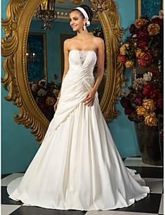 Lan Ting A-line Plus Sizes Wedding Dress - Ivory Court Train Strapless Satin