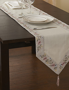 "16""x87"" Classic Beige Polyester Floral Table Runners"