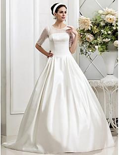 Lanting Bride® A-라인 / 공주 배 / 직사각형 / 플러스 사이즈 / 퍼티트 / 미스 / 사과 / 모래시계 / 역 삼각형 웨딩 드레스 - 쉬크&모던 / 글래머&드라마틱 2013 가을 코트 트레인 쥬얼리 새틴 / 튤 와