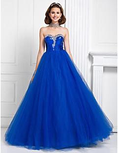 프롬/저녁 정장파티/성인식/스위트 16 드레스 - 로얄 블루 프린세스/볼 가운 바닥 길이 스위트하트 명주그물/반짝이 플러스 사이즈