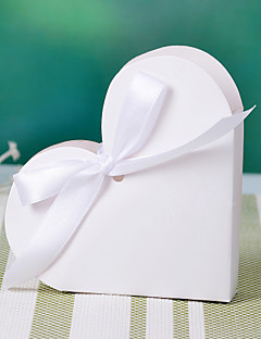 Hart Design Wit voor doos met lint strik (set van 12)