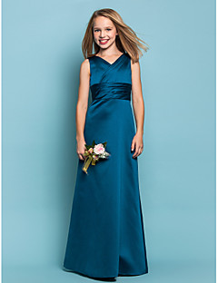 Lanting Bride® Floor-length Satin Junior Bridesmaid Dress Sheath / Column V-neck Natural with Sash / Ribbon / Criss Cross / Ruching