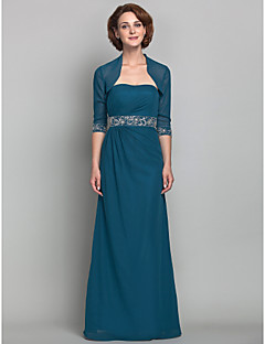 Sheath / Column Plus Size / Petite Mother of the Bride Dress - Wrap Included Floor-length Half Sleeve Chiffon with Beading / Side Draping