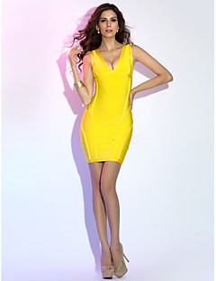 Sheath/Column V-neck Short/Mini Grace Bandage Dress