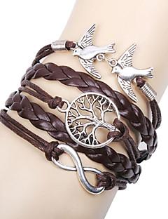 Dame Vedhend Armband Lær Armbånd Sjal Armbånd Enkelt design Venskap Multi Layer Håndlaget Personalisert kostyme smykker Lær Kjærlighed