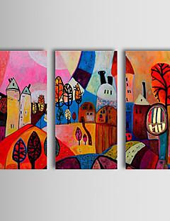 håndmalede abstrakt oliemaleri nyde landsby lykkeligt liv lærred kunst sæt af 3
