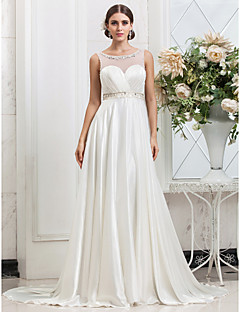 Lanting Bride A-line / Princess Petite / Plus Sizes Wedding Dress-Sweep/Brush Train Scoop Charmeuse