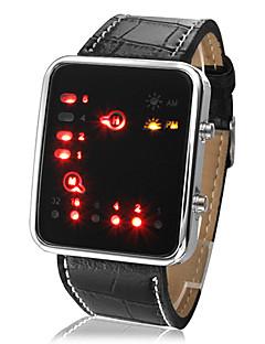 Unisex LED Binary System Display černé PU kožený náramkové hodinky