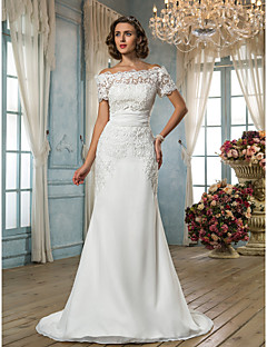 Trumpet/Mermaid Plus Sizes Wedding Dress - Ivory Sweep/Brush Train Off-the-shoulder Chiffon/Lace