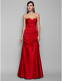 저녁 정장파티/프롬/밀리터리 볼 드레스 - 루비 시스/컬럼 바닥 길이 스위트하트 사틴 플러스 사이즈