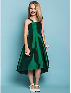 Lanting Bride® א-סימטרי טפטה שמלה לשושבינות הצעירות  גזרת A מרובע / רצועות טבעי עם סרט