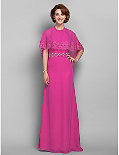 Sheath/Column Plus Sizes / Petite Mother of the Bride Dress - Fuchsia Floor-length Short Sleeve Chiffon / Lace
