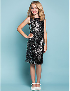 Lanting Bride® Knee-length Sequined Junior Bridesmaid Dress Sheath / Column Jewel Natural with Sash / Ribbon / Bandage / Sequins