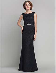 Sheath/Column Plus Sizes Mother of the Bride Dress - Black Floor-length Sleeveless Lace
