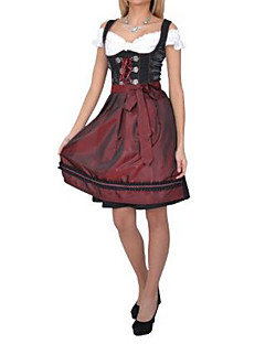 Beer Festival Hospitable Girl Wine Red Cotton Dress Maid Uniform