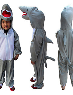 Kigurumi Pajamas Shark Leotard/Onesie Halloween Animal Sleepwear Gray Patchwork Terylene Costumes Kid Halloween