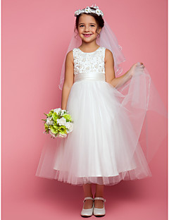Lanting Bride ® A-line Tea-length Flower Girl Dress - Satin / Tulle Sleeveless Jewel with Appliques / Beading