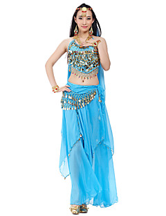 Belly Dance Outfits Women's Training / Performance Chiffon Beading / Coins / Sequins 4 PiecesApple Green / Black / Blue / Pink / Purple /