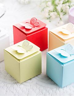 25 adet / set iyilik tutucu - küp kart kağıt / inci kağıt iyilik kutuları kelebek