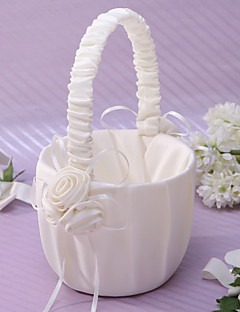 Elegant Flower Basket In Ivory Satin With Flower Flower Girl Basket