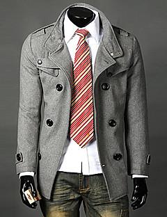 Gray LANGDENG Pánské Double Prsa klopu na míru Jacket