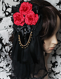 Handmade Bloody Rose Black Lace Gothic Lolita Headpiece