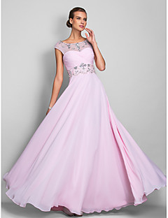 TS Couture® Prom / Formal Evening / Military Ball Dress - Open Back Plus Size / Petite A-line Scoop Floor-length Chiffon with Beading / Criss Cross