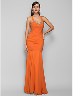 Formal Evening/Prom/Military Ball Dress - Orange Plus Sizes Trumpet/Mermaid Halter Floor-length Chiffon