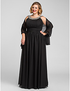 A-linje Juvel - Formell Aften/Skoleball/Militærball Dress - Svart Gulvlengde Chiffon Plus Sizes