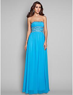 Formal Evening/Prom/Military Ball Dress - Pool Plus Sizes A-line/Princess Strapless Floor-length Chiffon