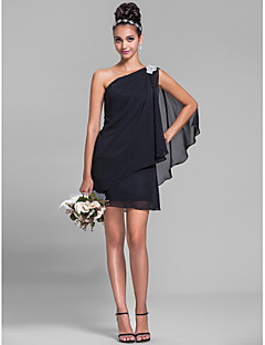 Sheath / Column One Shoulder Short / Mini Chiffon Bridesmaid Dress with Crystal Detailing Side Draping by LAN TING BRIDE®