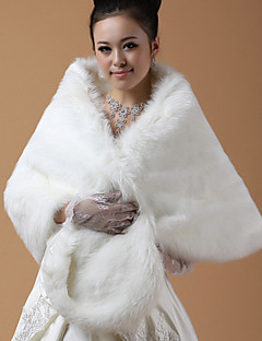 Fur Wraps / Wedding  Wraps Shawls Long Sleeve Faux Fur Ivory Wedding / Party/Evening / Casual Open Front