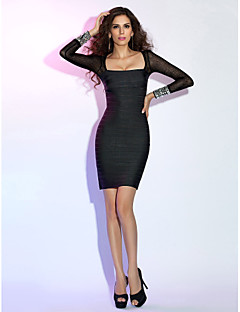Cocktail Party Holiday Dress - Little Black Dress Sheath / Column Square Short / Mini Rayon with Crystal Detailing